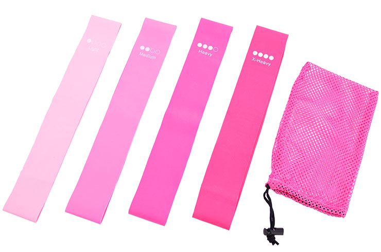 Resistance Bands, Yoga & Fitness, Silicone - Set of 4